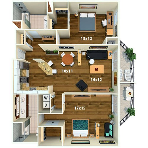 Calhoun Beach Club   2 Bed/2 Bath   Princeton Floor Plan